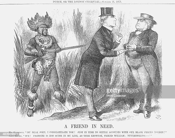'A Friend in Need' 1873 Mr Gladstone is seen here with John Bright In the background an African man dressed in skins and feathers is nonetheless...