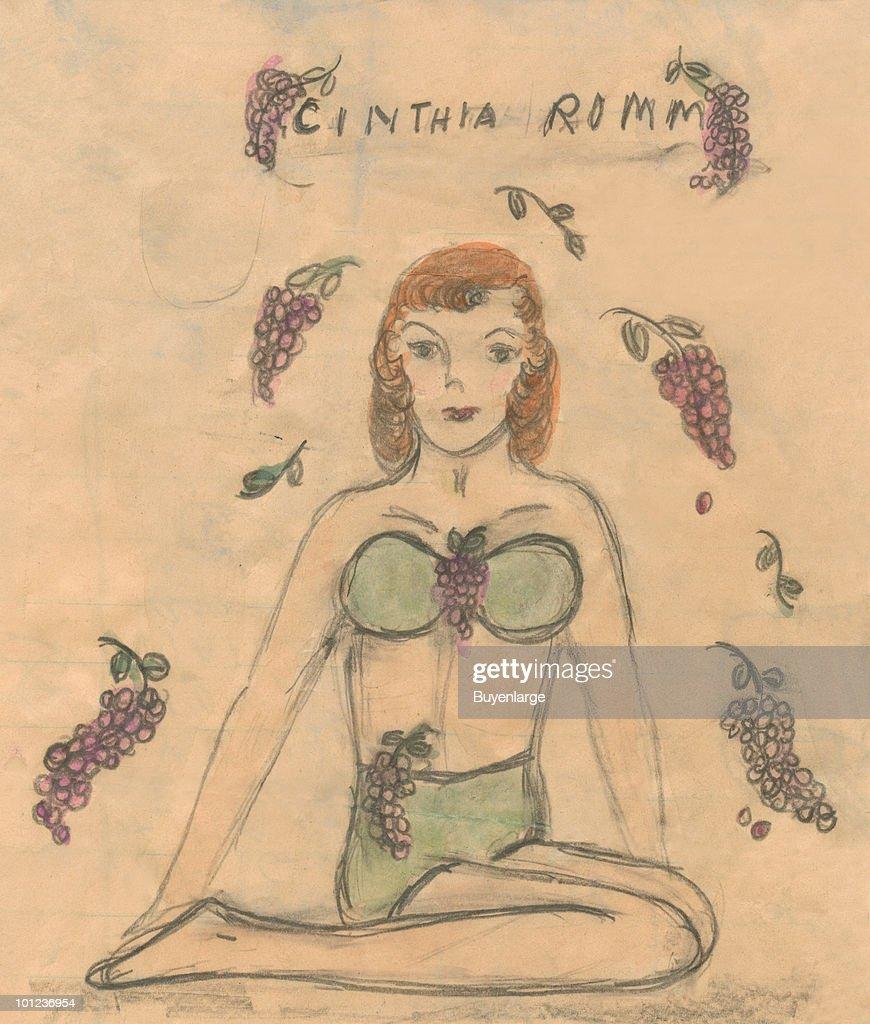 A friend of the artist posed in a bikini, grapes in bunches surround the scene.