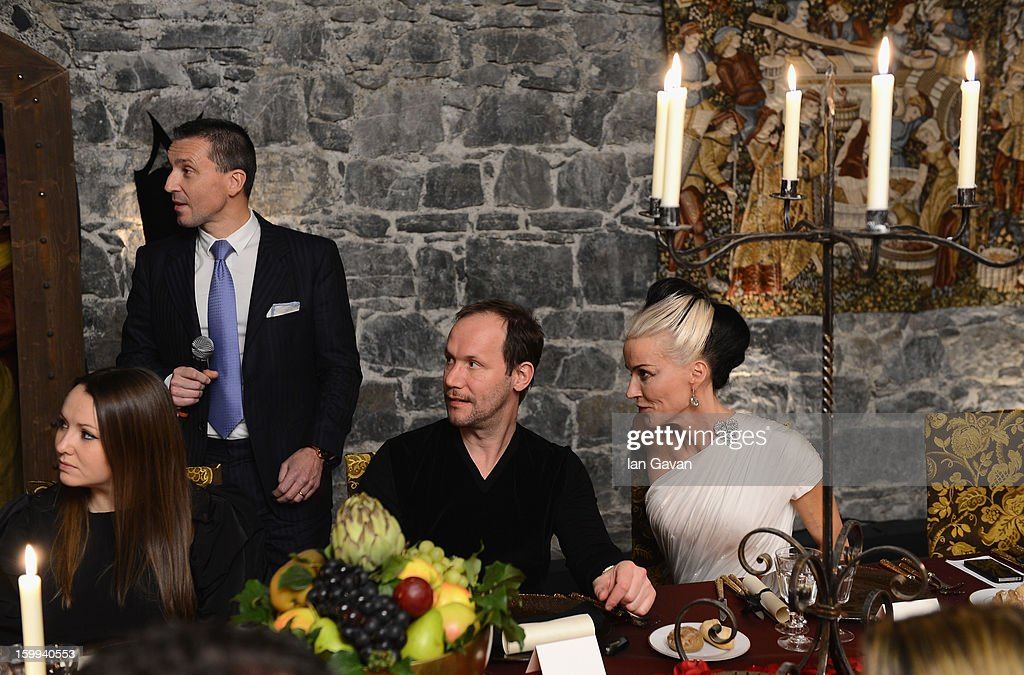 Friend of the Roger Dubuis brand <a gi-track='captionPersonalityLinkClicked' href=/galleries/search?phrase=Daphne+Guinness&family=editorial&specificpeople=213037 ng-click='$event.stopPropagation()'>Daphne Guinness</a> (R) and Alvaro Maggini (2ndR), Creative Director attend the Excalibur Dinner with CEO Jean-Marc Pontroue during the 23rd Salon International de la Haute Horlogerie at Caves des Vollandes on January 22, 2013 in Geneva, Switzerland.
