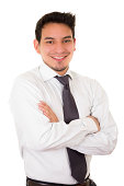 Friendly and smiling hispanic businessman