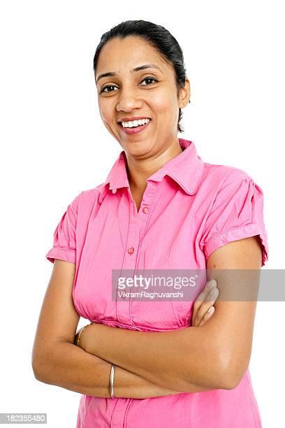 Amicale enthousiaste confiant Indian Femme d'affaires isolé sur fond blanc