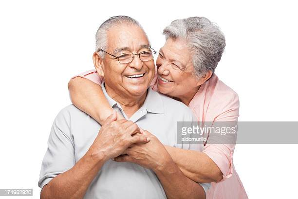 Friendly senior couple laughing together
