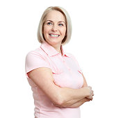 Friendly smiling middle aged woman isolated on white background
