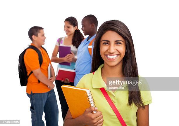 Amigos de adolescente estudante e amigos