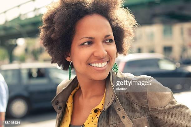 Friendly woman smiling in Berlin