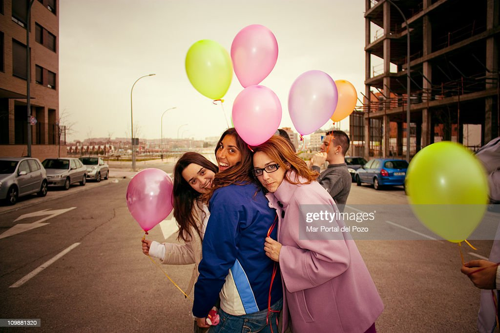 Friends and balloons : Stock Photo