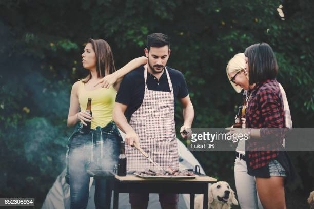 Friends and barbecue