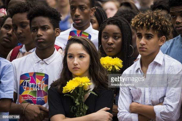 Friends and classmates mourn for their friend during the vigil at Lake Anne Plaza for Nabra Hassanen who was murdered Sunday on her way back to an...