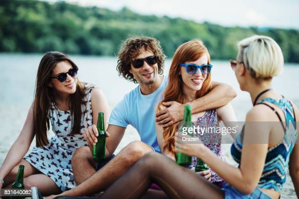 Friends and couples at the beach