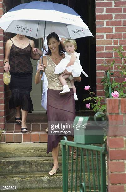 Friends and family arrive for Mary Donaldson's sister Patricia's wedding January 17 2004 in HobartTasmania Australia Crown Prince Frederik and his...