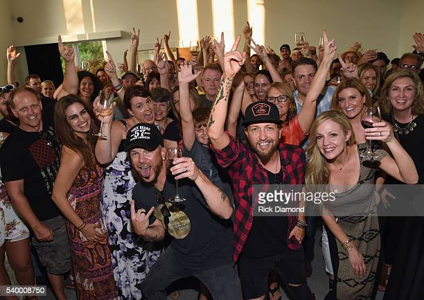 Friends and Family celebrate with Chris Lucas and Preston Brust LOCASH 'The Fighters' Listening Party at White Avenue Studio on June 13 2016 in...