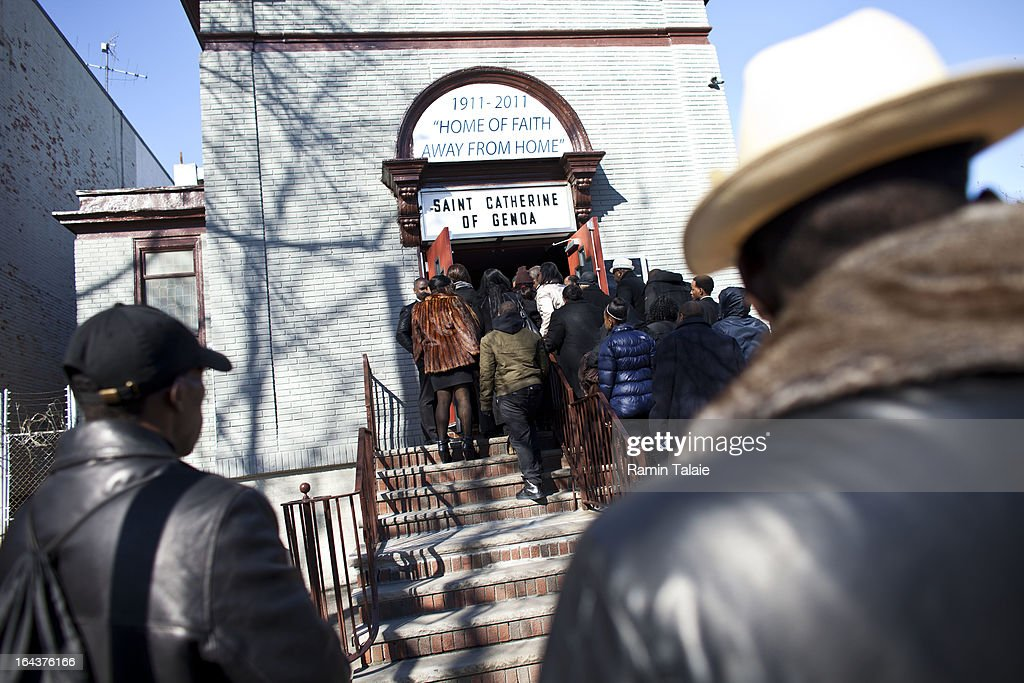 Friends and family of Kimani Gray, 16, line up for a procession at St. Catherine of Genoa Church for his funeral on March 23, 2013 in the Brooklyn borough of New York City. Kimani Gray was shot and killed by New York police officers for allegedly pointing a gun at them.