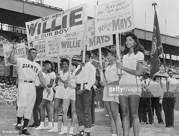 Friends and fans of Giant's outfielder Willie Mays gave him a celebration at the Polo Grounds here showering him with gifts and praises Here Willie...