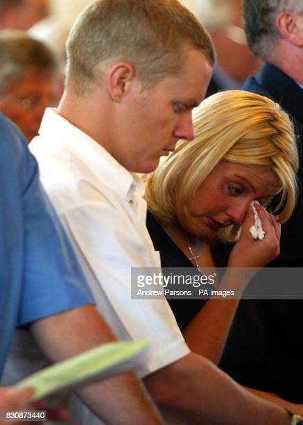 Friends and relatives attend a service to remember those who died in the North Sea helicopter crash at the Priory Church of StNicholas in Great...