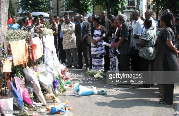Friends and relatives gather at a vigil in Lambeth London for Freddy Moody Boateng who was stabbed to death after a row over a water fight