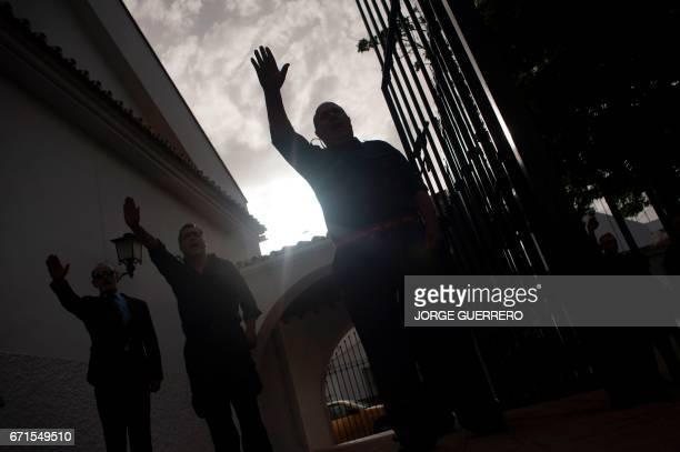 Friends and relatives of former Franco minister Jose Utrera sing the 'Cara al Sol' anthem of the 'Falange Española de las JONS' fascist political...