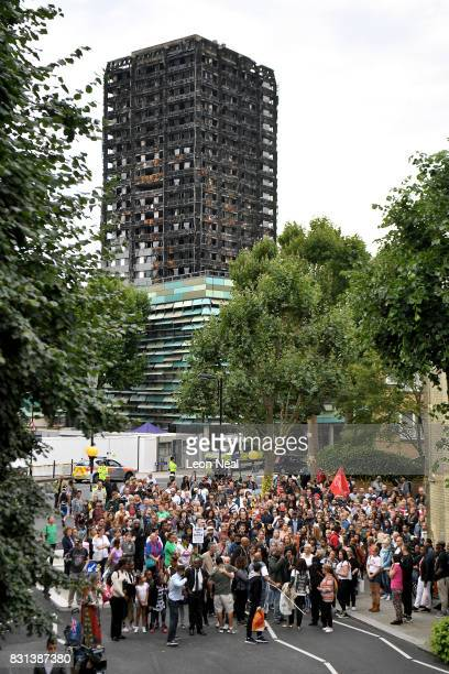 Friends and relatives of victims of the Grenfell Tower fire join local residents for a silent march to mark the two month anniversary of the disaster...