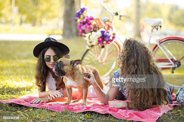 Friends and sweet little dog