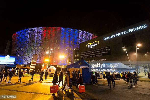 Friends Arena lit in the colors of the French flag as sign of solidarity after the attacks in Paris ahead of the European qualifier playoff between...