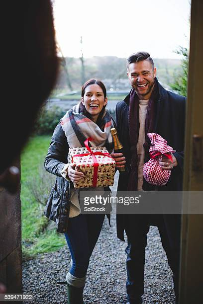 Friends Arriving with a Gifts