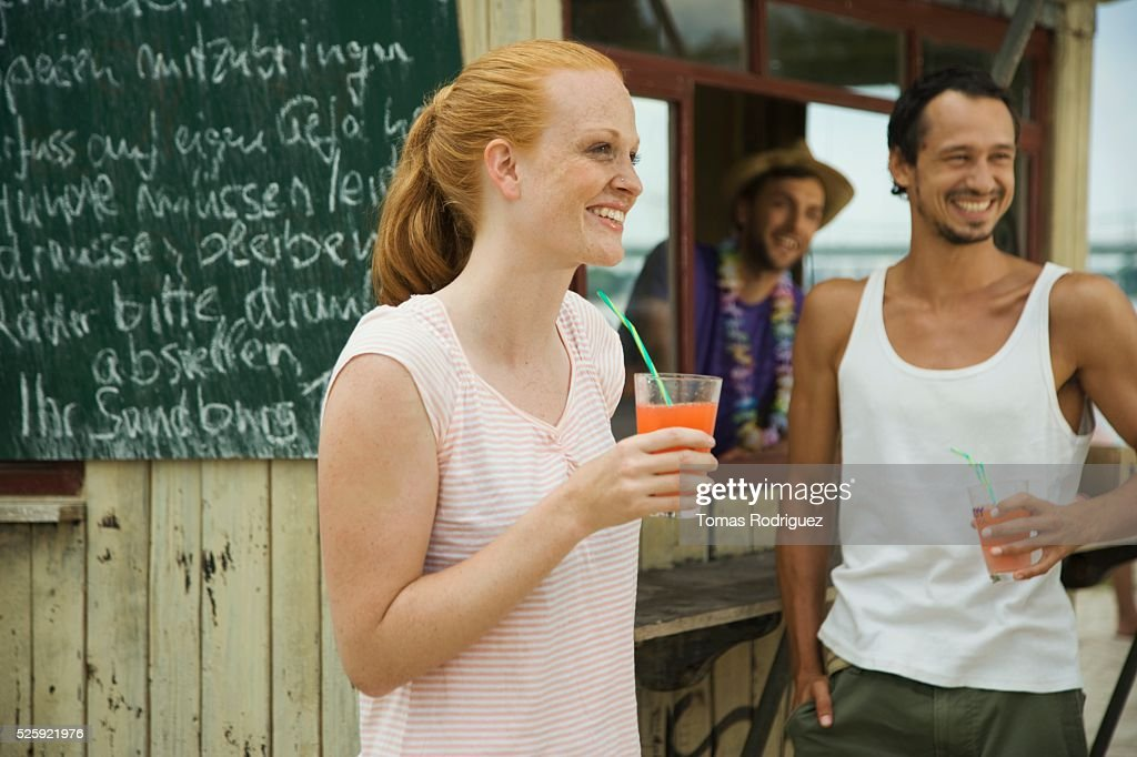 Friends at a Beach Bar : Stock Photo