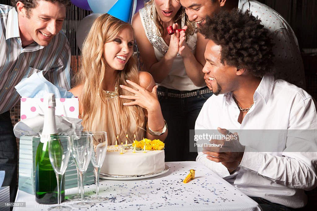 Friends at a birthday party : Stock Photo