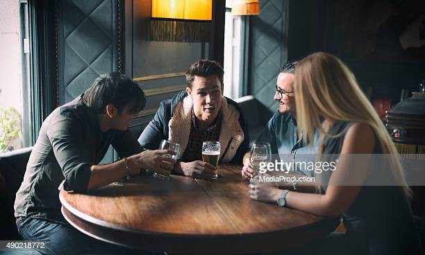 Friends at a pub in Dublin Ireland
