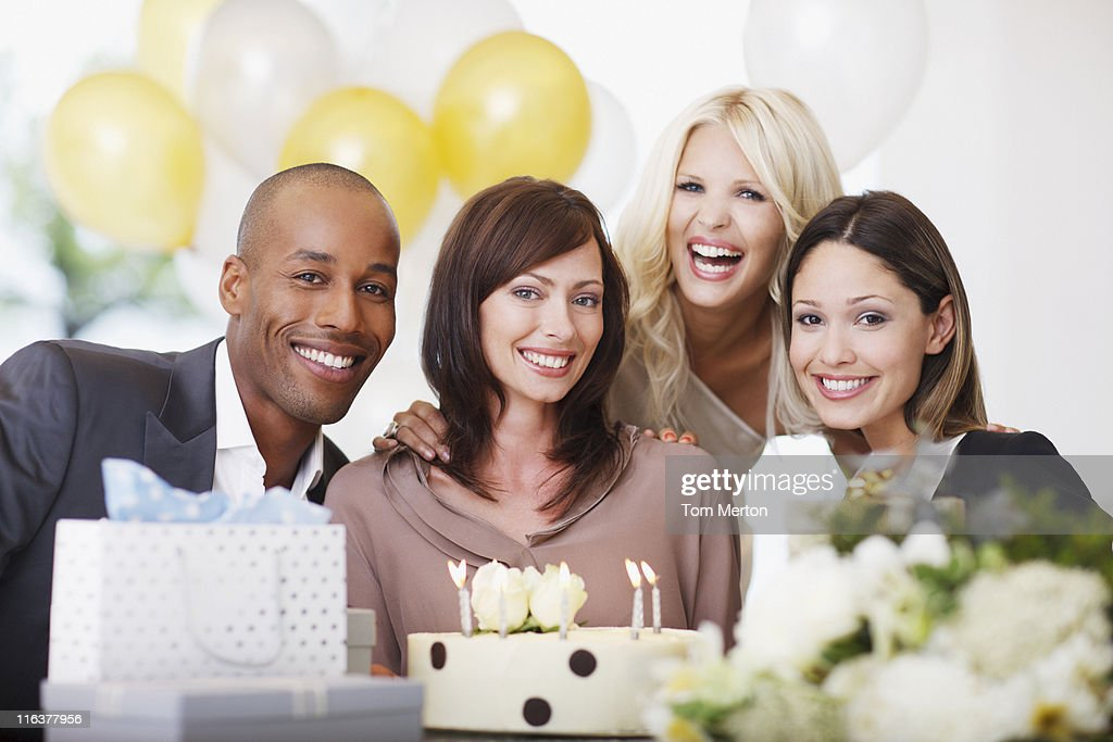 Friends at birthday party : Stock Photo