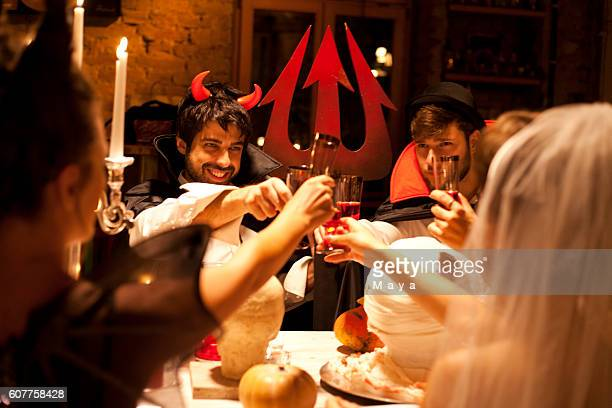 Friends at Halloween dinner