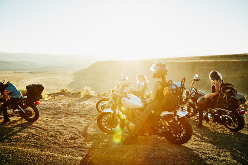 Friends at overlook during motorcycle road trip