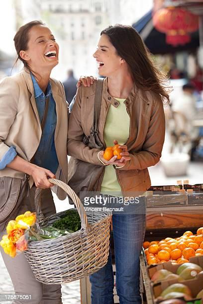 Friends at street market