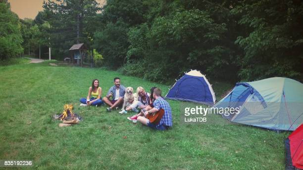 Friends camping in forest and enjoying at free time