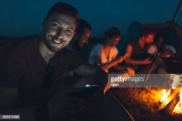 Friends camping together