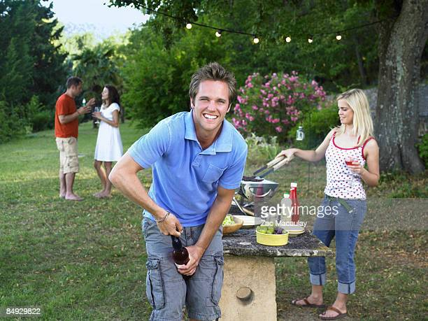 Friends celebrating at barbecue