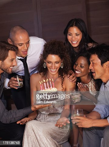 Friends celebrating birthday : Stock Photo