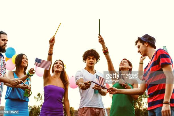 Friends celebrating Forth of July
