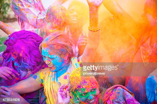 Friends Celebrating Holi Festival in India