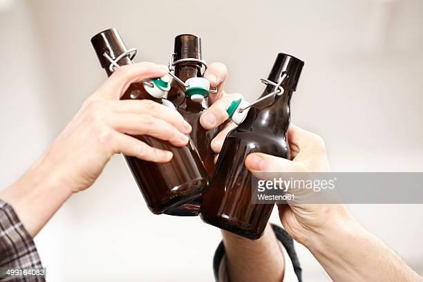 Friends clinking beer bottles