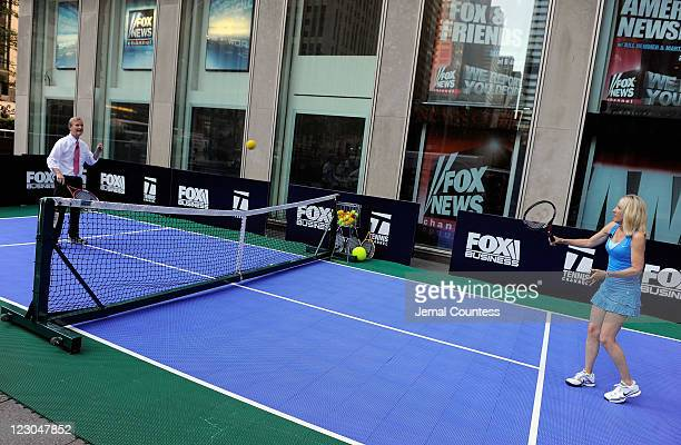 FOX Friends' cohost Steve Doocy plays a match against Former World Tennis Champion Tracy Austin during a vist to 'FOX Friends' at FOX Studios on...