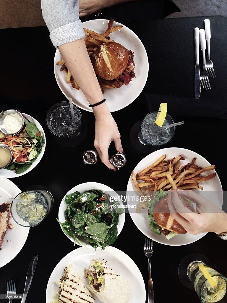 Friends dining away