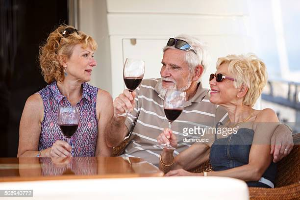 Friends drinking wine on vacations