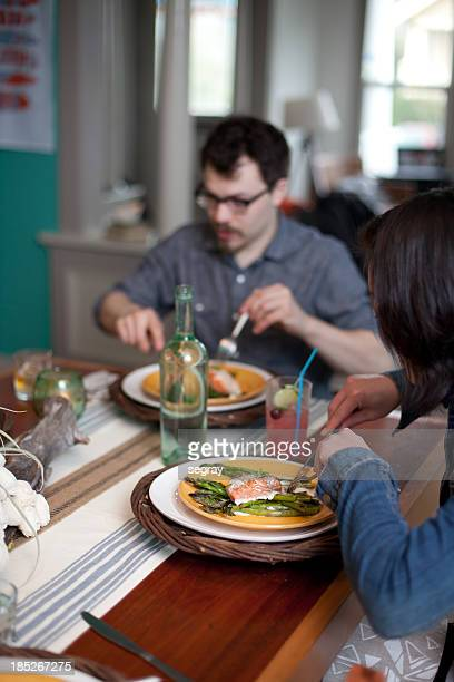 Friends eating at a dinner party