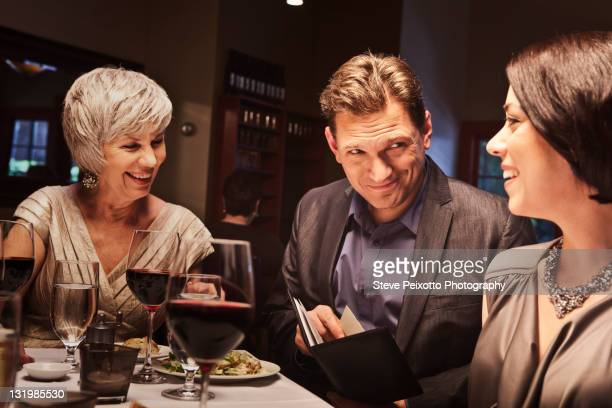 Friends eating together in restaurant