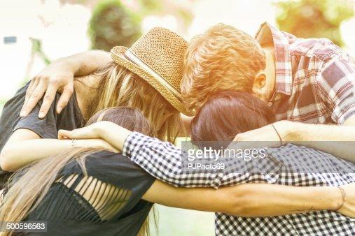 Friends embraced
