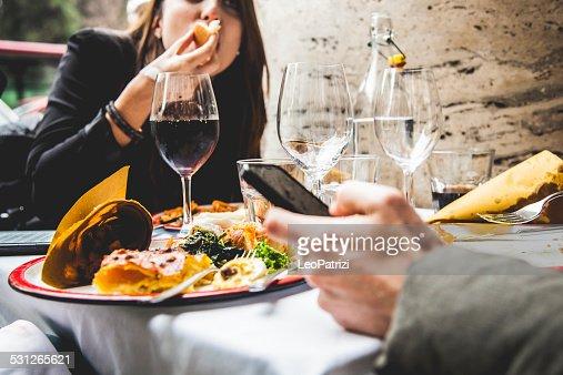 Friends enjoy together a brunch