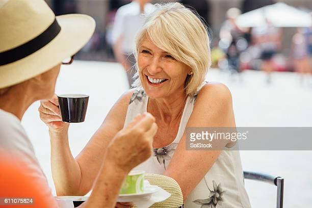 Friends Enjoying a Coffee in Italy