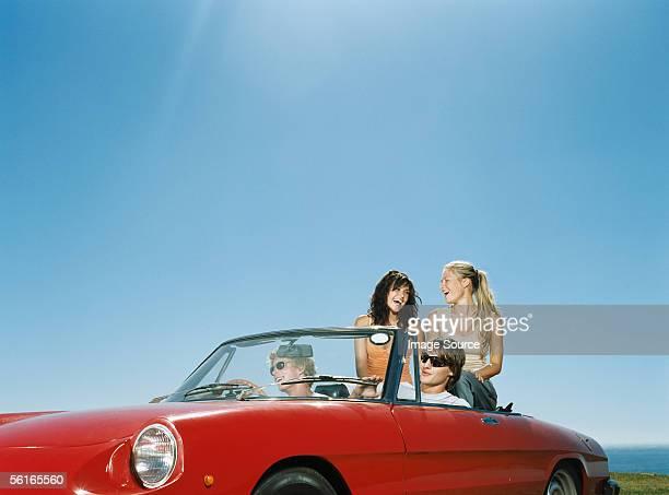 Friends enjoying a road trip