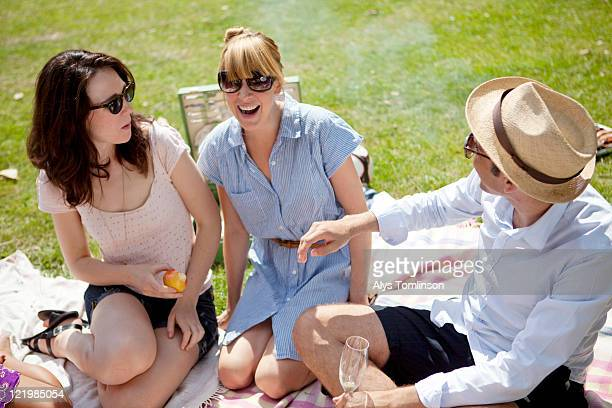 Friends Enjoying a Summer Picnic in the City