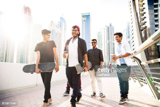 Friends enjoying city life