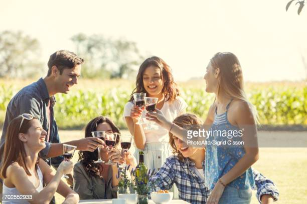 Friends enjoying glass of wine at vineyard